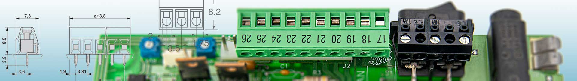 Verschiedene Klemmen für viele Anwendungen in technischen Geräten